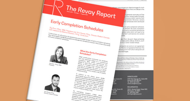 Latest Revay Report – Early Completion Schedules